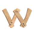 letter w wood board font plank and nails alphabet vector image vector image
