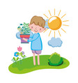 little boy lifting houseplant in the landscape vector image vector image
