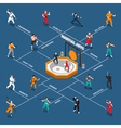 Martial Arts Isometric People Flowchart vector image vector image