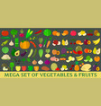mega set of fresh vegetables and fruits vector image vector image