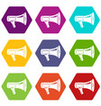 megaphone icons set 9 vector image vector image