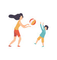 mother and her son playing with ball happy family vector image vector image