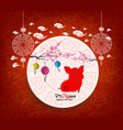 oriental chinese new year 2019 blossom and vector image