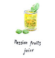 passion fruit juice in glass with mint leaves vector image