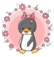 Penguin with flowers vector image vector image