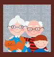 portrait of the grandparents with their grandson vector image