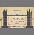 retro postcard with famous tower-bridge in london vector image vector image