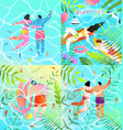 romantic couple honeymoon beach vacation flyer set vector image