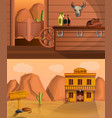 saloon banner set cartoon style vector image
