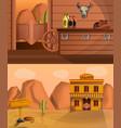 saloon banner set cartoon style vector image