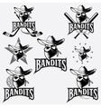 set skull bandit sports labels vector image