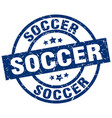 soccer blue round grunge stamp vector image vector image