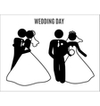 stick figure wedding couples vector image vector image