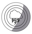sticker monochrome circular frame with cloud with vector image vector image