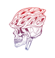 stylized skull wearing a cyclist helmet Design for vector image