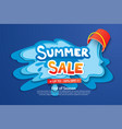 summer sale with paper cut bucket and water for vector image vector image
