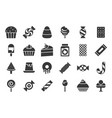 sweets and candy icon set 22 glyph icons vector image
