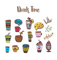 tea and coffee doodle sketched icons sketch icon vector image