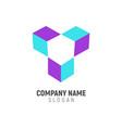 three isometric box logo design vector image