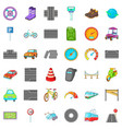 traffic in city icons set cartoon style vector image vector image