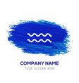 waves icon - blue watercolor background vector image