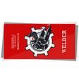 welder with welding machine in hand business card vector image vector image