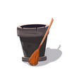 witch broomstick isolated cartoon icon vector image