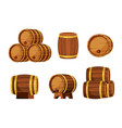 wooden barrels set brown containers for storing vector image vector image