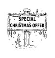 wooden sign board drawing with special christmas vector image vector image