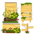 wooden sign template with moss and mushroom vector image vector image