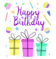 happy birthday greeting card design with cute vector image