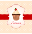 Vintage card with strawberry cupcake vector image
