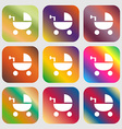 Baby Stroller icon sign Nine buttons with bright vector image vector image