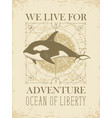banner with hand-drawn killer whale in retro style vector image vector image