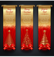 Banners with greetings and Christmas trees vector image vector image