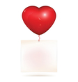 Blank paper hanging on heart balloon vector image