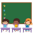 board and children in classroom vector image vector image
