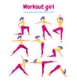 body workout set woman doing fitness and yoga vector image vector image