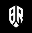 br logo monogram with emblem shield style design vector image vector image