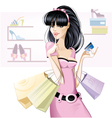 brunette girl shopping vector image vector image