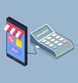cartoon showcase online store in smartphone vector image