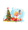 child opens christmas present vector image vector image