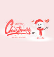 christmas greeting card design with snowman vector image