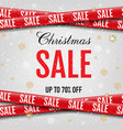 christmas promotional sale ribbon white background vector image vector image
