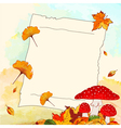 Colorful Autumn Background with Leaf and Notepaper vector image vector image