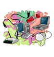 computer equipment on colored background vector image vector image