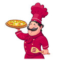 cook with pizza traditional vector image vector image