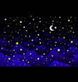 crescent moon stars and clouds on midnight vector image vector image