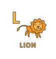 cute cartoon animals alphabet lion vector image vector image