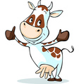 cute cow with thumb up - isolated on white vector image vector image
